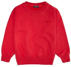 Logo-embroidered Cotton-blend Sweatshirt - Womens - Red