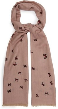 Butterfly Embellished Cashmere Scarf - Womens - Pink