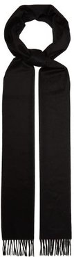 Logo Embroidered Cashmere Scarf - Womens - Black