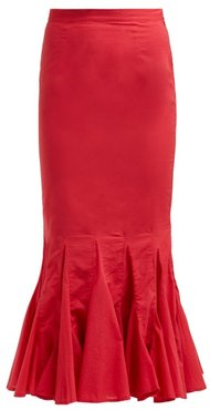 Sienna Fishtail Cotton Midi Skirt - Womens - Red