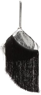 Lantern Fringed Leather Clutch - Womens - Black Silver