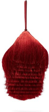 Lantern Fringed Leather Clutch - Womens - Red