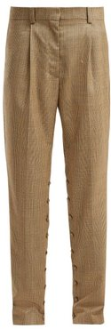 Button-seam Check Wool Trousers - Womens - Brown Multi