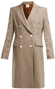 Double-breasted Checked Wool Coat - Womens - Brown Multi