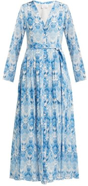 Kalua-print Silk-crepe Dress - Womens - Blue White