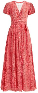 Mandrem Love-print Belted Silk-crepe Dress - Womens - Red White