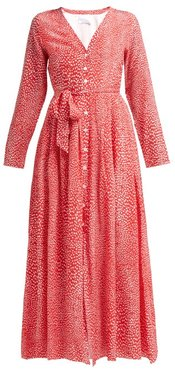Mandrem Love-print Silk Crepe De Chine Dress - Womens - Red White