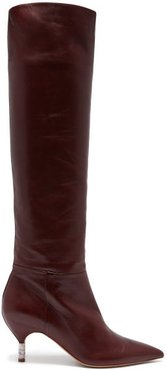 Gonzalez Over The Knee Leather Boots - Womens - Burgundy