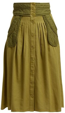 O'keefe Quilted Patch Twill Canvas Midi Skirt - Womens - Khaki