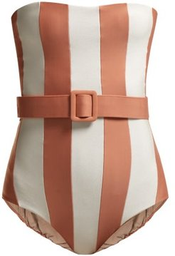 Strapless Striped Swimsuit - Womens - Pink White
