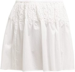 Eden Smocked Cotton-lawn Mini Skirt - Womens - White