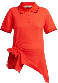 Fringed Cotton Polo Shirt - Womens - Red Multi