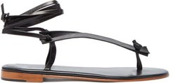 Bibiana Ankle-tie Leather Sandals - Womens - Black