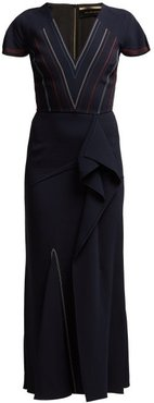 Bates Ruffled Crepe Dress - Womens - Navy Multi