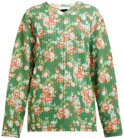 Floral-print V-neck Striped-jacquard Sweatshirt - Womens - Green Multi