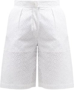 The Stella Broderie-anglaise Linen Shorts - Womens - White