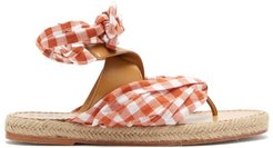 Fabiana Gingham-strap Leather Espadrilles - Womens - Brown Multi