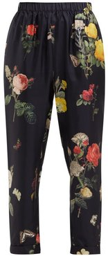 Palmarosa Botanical-print Silk Trousers - Womens - Black Print