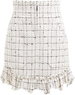 Ruffle-hem Cotton-blend Tweed Bouclé Skirt - Womens - Ivory