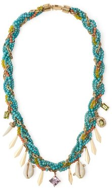 Braided Turquoise, Diamond & Amethyst Necklace - Womens - Blue