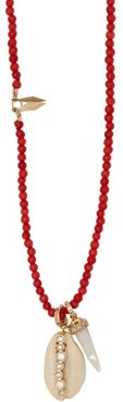 Karo Diamond & 18kt Gold Beaded Necklace - Womens - Red
