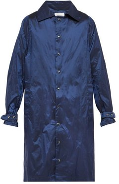 Technical Single-breasted Coat - Mens - Navy
