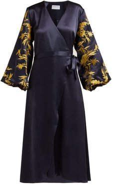Embroidered Satin Wrap Dress - Womens - Navy Gold