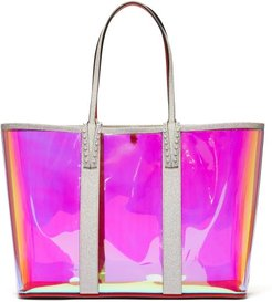 Cabata Spike-embellished Iridescent-pvc Tote - Womens - Clear Multi