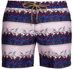 Titan-fit Antelope-print Swim Shorts - Mens - Pink
