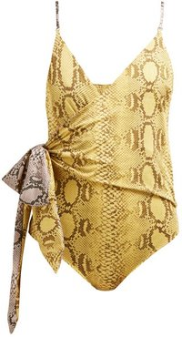 Timeless Snake-print Wrap Swimsuit - Womens - Yellow Multi