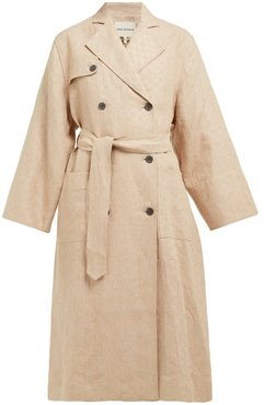 Roberta Double-breasted Linen Trench Coat - Womens - Beige
