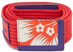 Floral-printed Ribbed Cotton Tie Belt - Womens - Red