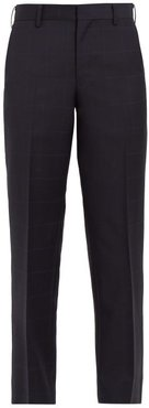 Windowpane-check Wool And Mohair Cropped Trousers - Womens - Navy