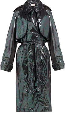 Double-breasted Iridescent-chiffon Trench Coat - Womens - Black Multi