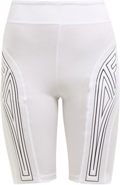 Logo-tape Padded Stretch-jersey Cycling Shorts - Womens - White