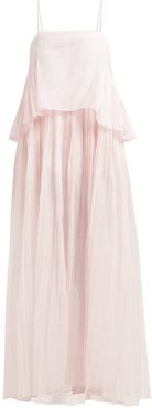 Chanderi Pleated Cotton And Silk-blend Dress - Womens - Pink