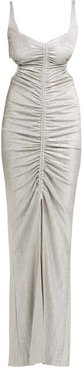 Sahara Ruched Lamé Dress - Womens - Silver