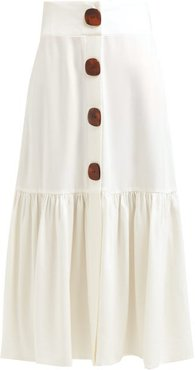 High-rise Buttoned Crepe Midi Skirt - Womens - Ivory