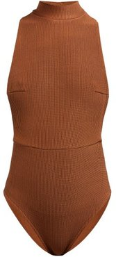 Kate High-neck Ribbed Swimsuit - Womens - Camel