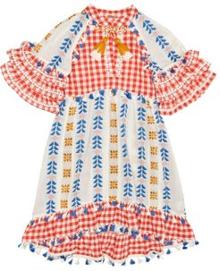 Lola Embroidered Cotton Dress - Womens - Red Multi