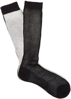 Frankenstein Two-tone Silk Socks - Womens - Black Multi