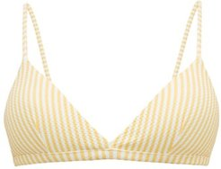 Striped Triangle Cup Bikini Top - Womens - Yellow White