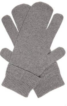 Split Wool-blend Mittens - Mens - Dark Grey