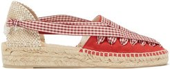 Grace Gingham-lace Canvas Espadrilles - Womens - Red