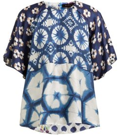 Suji Floral-print Silk Blouse - Womens - Navy Multi
