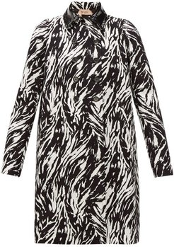 Zebra-print Double-breasted Cotton & Pvc Coat - Womens - Black White
