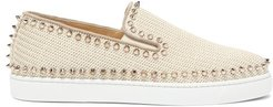 Boat Spike-embellished Woven Slip-on Trainers - Womens - Ivory