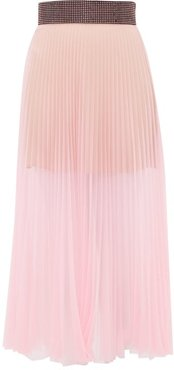 Crystal-embellished Pleated Tulle Midi Skirt - Womens - Light Pink