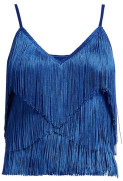 Tiered-fringe Stretch-jersey Crop Top - Womens - Blue