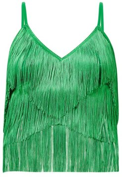 Tiered-fringe Stretch-jersey Crop Top - Womens - Green